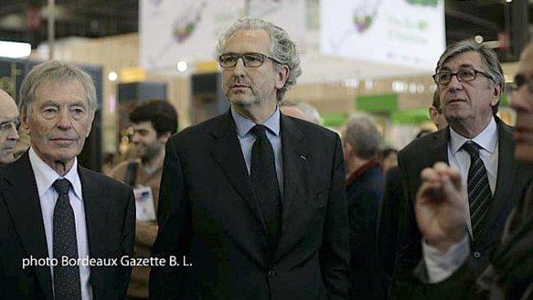Eric Dulong lors de l'inauguration de Bordeaux Vinipro entre Gérard César et Stéphane Delaux
