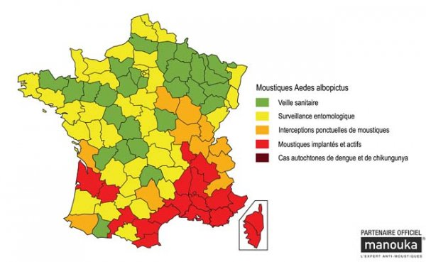 Carte d'implantation du Aedes albopictus