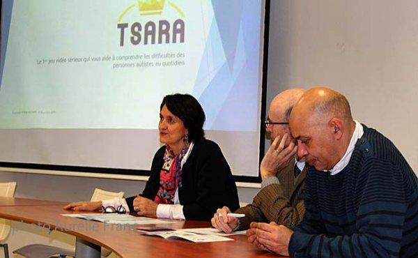 Les acteurs principaux qui ont contribués à la réalisation du projet TSARA avec de gauche à droite, Pascale Paturle (responsable du Mécénat, Santé/Handicap à la Fondation Orange), Jean-Pierre Depond (président du CREAI) et Thierry Dimbour (directeur du CREAI).