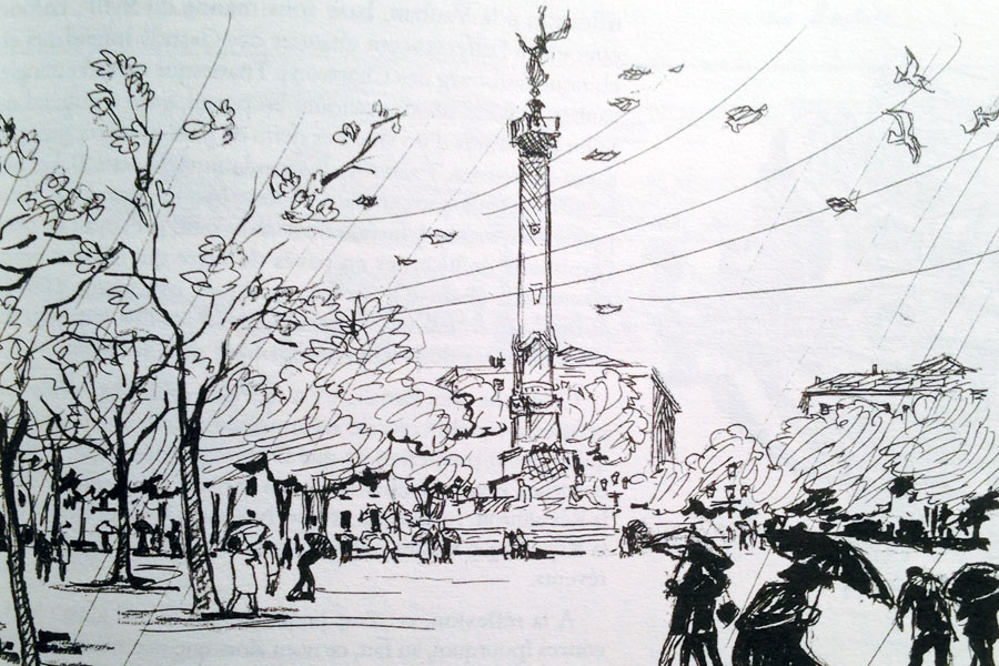 La Place des Quinconces à Bordeaux (illustration Jacques Guibillon)